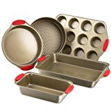 Bakeware Set, Kitchen Komforts 5-Piece Non-Stick Baking Pan Set with Silicone Handle Grips, Carbon Steel