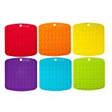 """Premium Silicone Pot Holder,Trivets,Hot Mitts,Spoon Rest And Garlic Peeler Non Slip,Heat Resistant Hot Pads,Multipurpose Kitchen Tool. 7x7"""" Potholders(Set of 6) Non Slip,Dishwasher Safe,Durable."""