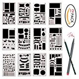 Bullet Journal Stencil Set 12 Pcs Plastic Planner DIY Drawing Template for Diary Notebook Scrapbook Craft Projects