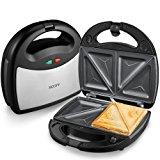 Aicok Sandwich Maker, Panini Press Grill, Waffle Maker, American Toaster Maker, 3-in-1 Detachable Non-stick Coating Table Grill, Mini Maker, Black