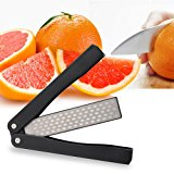 Sungwoo Pocket Knife Sharpening Stone, 400/600grit Double Sided Folding Knife Sharpener Stone for Kitchen, Garden, Outdoor tools (Black)