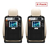 Aoafun Kick Mats with Multi-pocket Organizer, 2 Pack, Aoafun Seat Back Covers for Car, SUV, Minivan or Truck Seats, Auto Accessory and Protector for Kids
