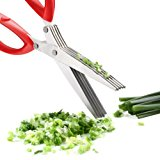Xpatee 5 Blades Herb Scissors with Cleaning Brush (Red)