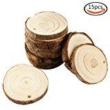 "JPSOR 15pcs 2.7""-3.1"" Pure Natural Predrilled Wood Slices DIY Handmade Wedding Craft Ornaments"