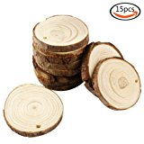 "JPSOR 15pcs 2.7""-3.1"" Pure Natural Predrilled Wood Slices DIY Handmade Wedding Craft Ornaments"