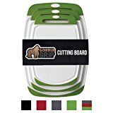 The Original GORILLA GRIP (R) Set of 3 Reversible Cutting Boards, BPA Free, Dishwasher Safe, Extra Large (Set of 3 Boards: Green)