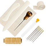 Coobey Bookbinding Tools Set Bone Folder Paper Creaser Large-eye Needles Waxed Linen Thread Handle Awl Binding Cloth Binding Ribbon for Handmade Books Bookbinding Supplies