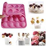 Rbenxia Silicone Cake Mold 20-cavity Half Circle Lollipop Party Cupcake Baking Mold Cake Pop Stick Mold Tray Pink