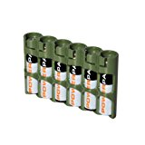 Storacell by Powerpax SlimLine AAA Battery Caddy, Military Green, Holds 6 Batteries