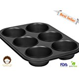 My Muffin Pan | 6 Cup Popover | Elegant Design | Nonstick Pan | Great Fluffy and Crusty Breakfast | Uniform Slow Heating for Excellent Cakes | 281
