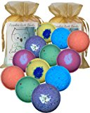 """Bath Bombs Double Gift Set, 12 Wholesale Vegan, Handmade in USA with Organic Coconut Oil, Cruelty Free, PABA Free, from Enhance Me """"See, Smell and See The Difference"""""""