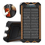 Solar Charger, X-DRAGON 15000mAh Solar Power Bank with Cigarette Lighter, 2A Input Dual Super Bright LED Light Water-Resistant Dustproof Shockproof Dual USB for iPhone, Samsung Galaxy and More-Orange
