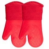 Silicone Oven Mitts with Quilted Cotton Lining - Professional Heat Resistant Potholder Kitchen Gloves - 1 Pair (Red) - Homwe