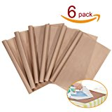 """PTFE Teflon Sheet, 6-Pack Teflon Sheet for Heat Press Transfers, 16 x 20"""" Heat Resistant Craft Sheet, 100% Non Stick Protects Iron and Work Area (6-pack)"""