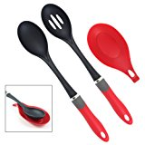 Latest Nylon Cooking Spoon Set With Silicone Spoon Rest - Solid Basting Spoon & Slotted Drain Spoon - Our Nonstick Kitchen Utensils Will Never Scratch Your Pots & Pans - Lifetime Replacement Warranty
