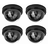 (4 Pack) Fake Dummy Security CCTV Dome Camera With Realistic Look Recording Flashing Red LED Light Indoor And Outdoor Use, For Homes & Business- By Armo