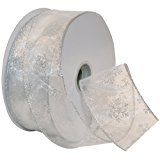 Morex Ribbon Snowflake Wired Sheer Glitter Ribbon, 2-1/2-Inch by 50-Yard Spool, White/Silver