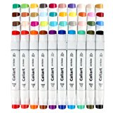 Caliart 100 Colors Dual Tip Art Markers Sketch Twin Permanent Markers Pens Highlighters with Carrying Case for Drawing Writing Coloring and Underlining