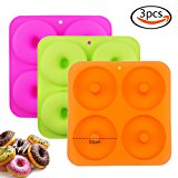 """BAKHUK 3 Pack Non Stick Silicone Large Donut Molds Donut Trays Donut Pans - 3 Colors, Cavity Inside Diameter 4"""""""