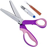 Rovtop Pinking Shears, Handled Professional Stainless Steel Dressmaking Sewing Craft Scissors (Serrated),with 1 Seam Ripper and 1 Scissors for Dressmaking, Sewing and Arts and Crafts