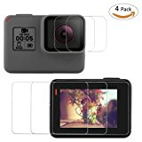 Fixget 4 Pcs Screen Protector (Screen and Lens) for Hero5 Black / Hero 6, Ultra-Clear Tempered-Glass with Lens Cap Cover for Hero 5 / Hero 6 Action Camera