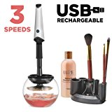 Luxe Makeup Brush Cleaner with USB Charging Station - Instantly Wash and Dry Your Make up Brushes with 3 Adjustable Speeds Bonus Cleaning Solution