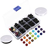 Lava Bead Kit, 300 Black Colored Loose Volcanic Lava Rock Stone Beads Balls Kit | 21 Chakra Beads | 2 Crystal Strings Set Authentic Genuine Bulk Wholesale for Essential Oil Jewelry Making by Afantti