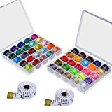 Paxcoo 50 Pcs Bobbins and Sewing Thread with Case and 2 Pcs Soft Measuring Tapes for Brother Singer Babylock Janome Kenmore (Assorted Colors)