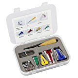 Htianc 16 PCS Fabric Bias Tape Maker Kit With Sewing&Quilting Awl,Adjustable Bias Binder Foot,Ball Pins And A Case,For Patchwork,DIY,Craft,Sewing Machine.