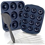Chefast Non-Stick Donut Pan Combo Kit: BPA-Free Large and Mini Silicone Doughnut Pans, 5 Pastry Bags, and Spatula - Baking Molds for Full-Size and Small Donuts - Baked Doughnuts and Bagels Maker Set