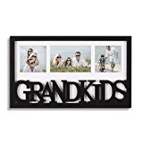"""Adeco Decorative Black White Wood ''Grandkids'' Wall Hanging Artwrok Print Picture Photo Frame, 3 Openings 4x6"""" 4x4"""" with Mat, Gift for Grandparents"""