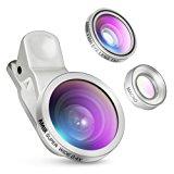 Amir 3 in 1 Clip on Camera Lens Kit Bundle of Fisheye Lens, Macro Lens, 0.4X Super Wide Angle Lens for Smartphones, Silver