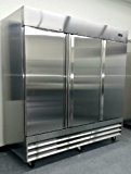 "81"" Freezer Three Locking Doors Commercial Restaurant - 72 Cu. Ft. - 304 Grade Stainless Steel - Digital Control - 9 Shelves - 5 Year Compressor Warranty - CFD-3FF"