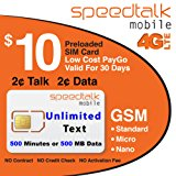 $10 Prepaid GSM SIM Card Unlimited Text 30-Day Wireless Service