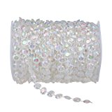 HOODDEAL 99 ft Clear Crystal Like Beads by the roll Wedding Decorations