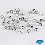 LolliBeads (TM) 100 Pcs Crystal Ringed Sew on Rhinestone Czech Glass with Silver Plated Brass Base Prongs Cup, White 4 mm