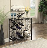 "Black and Marble Look Top with 24 Bottles and Glass Holder Wine Organizer Rack Cabinet Kitchen 36""W"