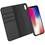 iPhone X Case ZOVER Genuine Leather Luxury Series Support Wireless Charging Magnetic Car Mount Holder Detachable Wallet Case Kickstand Feature Card Slots Magnetic Closure Gift Box Black