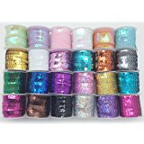 PEPPERLONELY Brand 24 Rolls Mixed 24 Colors Flat Sequin Trim, 6mm(1/4 Inch)