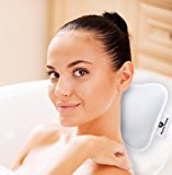 Home Prime Non-Slip Spa BATH PILLOW Fits Any Bathtub / Hot Tub / Jacuzzi with 2 Strong Suction Cups - Large & Soft, Shoulder & Neck Support. With a LOOFAH SPONGE.