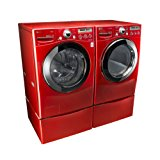 """LG """"Wild Cherry Red"""" Steam Laundry Pair with Matching Pedestals and ELECTRIC Dryer (WM2650HRA, DLEX2650R, WDP4R)"""