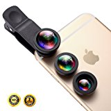 Phone iPhone Camera Lens, Oande 3 in 1 Fisheye Lens & 10X Macro Lens &0.65X Wide Angle Lens,Cell Phone Lens HD Camera Lens Kits for iPhone 7/6s Plus/6s/5s and other devices