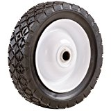 Shepherd Hardware 9591 6-Inch Semi-Pneumatic Rubber Tire, Steel Hub with Ball Bearings, Diamond Tread, 1/2-Inch Bore Centered Axle