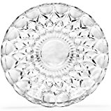 "Circleware CG Society Set of 4 Legacy Collection Italian Cut Fancy Clear Glass Dessert Plates/platter, 7.5""D"