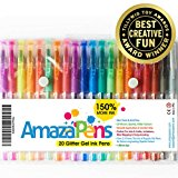 Colored Gel Pens by AmazaPens - 20 Pack Super Glitter 150% More Ink than Other Colored Pen Sets   Best for Adding Sparkle to Your Adult Coloring Books and Art Projects.