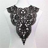 Yontree Neckline Collar Costume Venise Lace Applique Bridal Wedding Applique Black 1 Pc
