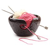 DEALS OF THE DAY - Ceramic Brown Yarn Bowl for knitting , Crochet for Moms - Beautiful Gift on all Occasions. A Perfect Gift for Moms and Grandmothers (Brown)