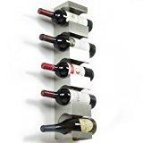 Stainless Steel Wine Rack - Wide Multi Bottle Holder with Top Shelf Section - Modern Art Design - Wall Mount (Holds 5 Bottles)