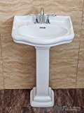 Fine Fixtures, Roosevelt White Pedestal Sink - 22 Inch Vitreous China Ceramic Material (4 Inch Faucet Spread Hole)