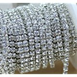 Aketek 10 Yard Crystal Rhinestone Close Chain Clear Trim Sewing Craft 2mm Silver color
